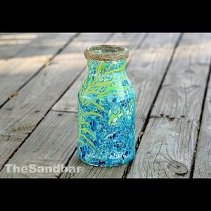 Handpainted Glass Vase Coastal Blue Lilly Inspired